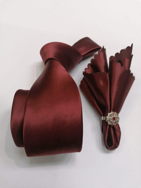 bordo Muska kravata sa maramicom-4007