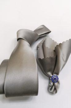 Srebrna Muska kravata sa maramicom-4006